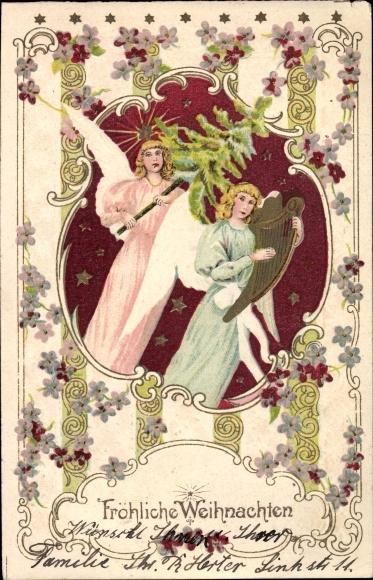 Präge Litho Glückwunsch Weihnachten, Zwei Engel mit Handharfe und Tannenbaum