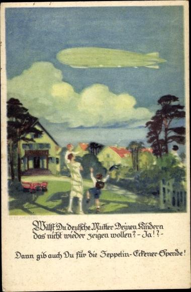 Künstler Ak Amtsberg, Otto, Zeppelin, Kinder und Frau winken, Zeppelin Eckener Spende