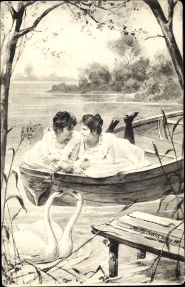 Künstler Ak Zwei junge Frauen liegen in einem Ruderboot, Schwäne