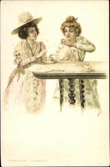 Litho Pariser Jugend, Zwei Frauen in eleganten Kleidern am Kaffeetisch, Hut