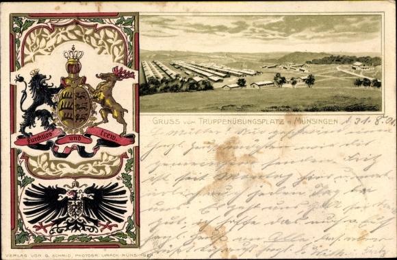 Präge Wappen Passepartout Litho Münsingen, Truppenübungsplatz, Baracken