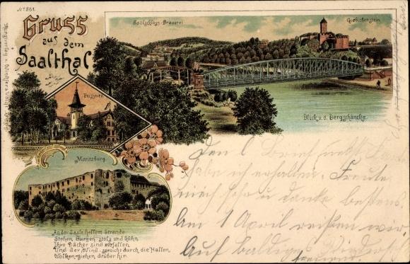 Litho Halle an der Saale, Saalschloss Brauerei, Burg Giebichenstein, Peissnitz, Moritzburg
