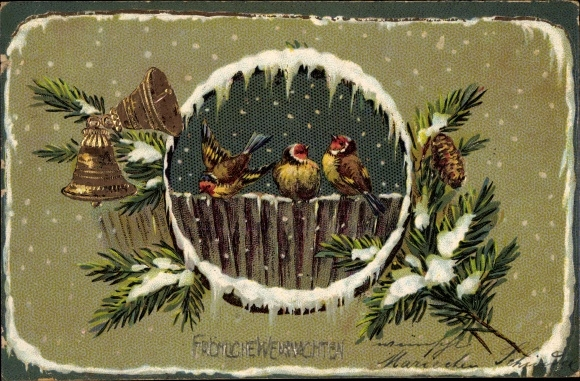 Winter Präge Litho Glückwunsch Weihnachten, Vögel auf einem Zaun, Glocken, Tannenzweige