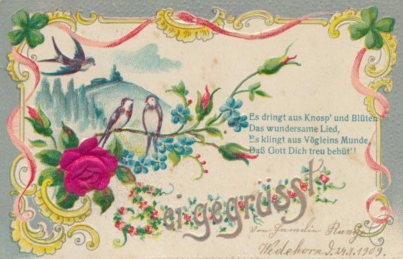 Stiff Präge Litho Sei gegrüsst, Es dringt aus Knosp' und Blüten, Schwalben, Kleeblatt, Rosenblüten