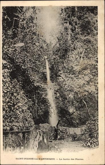 Ak St. Pierre Martinique, Le Jardin des Plantes, Wasserfall im botanischen Garten