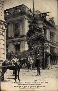 Ak Thessaloniki Griechenland, Incendie Aout 1917, Rue France, Banque Ottomane, Pferd