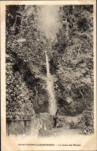 Ak Saint Pierre Martinique, Le Jardin des Plantes, Wasserfall im botanischen Garten