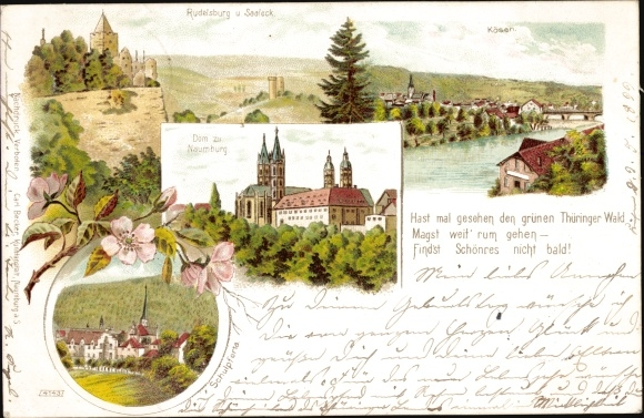 Litho Saaleck Bad Kösen Naumburg Saale, Rudelsburg, Dom, Kösen, Schulpforta