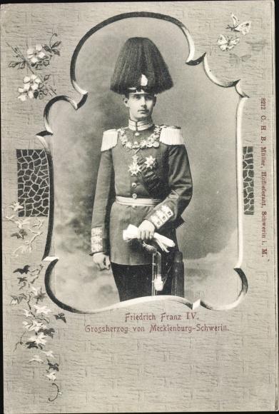 Passepartout Ak Großherzog Friedrich Franz IV. von Mecklenburg Schwerin, Portrait