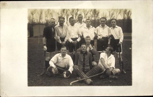 Foto Ak Hockey, Mannschaftsbild, Torwart, Hockeyschläger