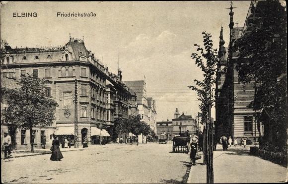 Ak Elbląg Elbing Westpreußen, Friedrichstraße, Straßenpartie