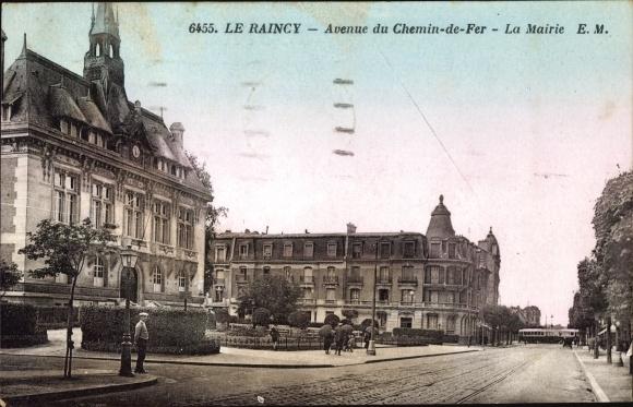 Ak Le Raincy Seine Saint Denis, Avenue du Chemin de Fer, La Mairie