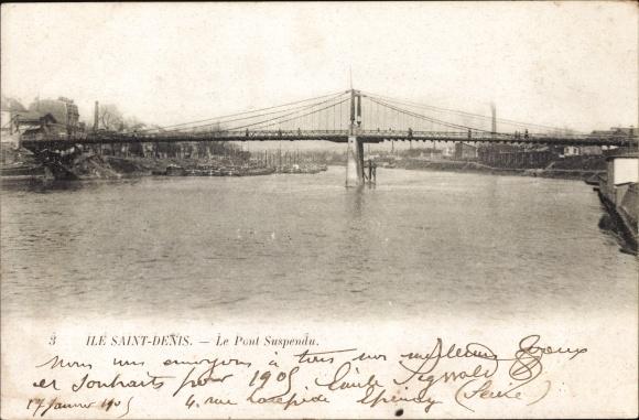 Ak Ile Saint Denis Seine Saint Denis, Le Pont Suspendu, Hängebrücke