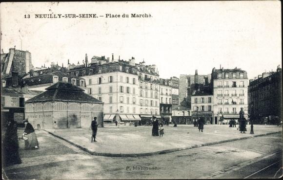 Ak Neuilly sur Seine Hauts de Seine, Place du Marché, Marktplatz, Geschäftshäuser