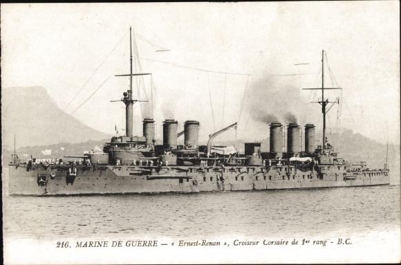 Ak Französisches Kriegsschiff Ernest Renan, Croiseur Corsaire de 1er rang, Marine de Guerre