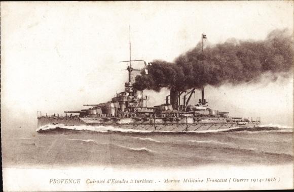 Ak Französisches Kriegsschiff Provence, Cuirassé d'Escadre a turbines, Marine Militaire, I. WK