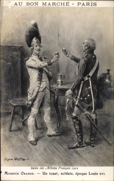 Künstler Ak Orange, Maurice, Un toast, soldats, époque Louis XVI, französische Soldaten
