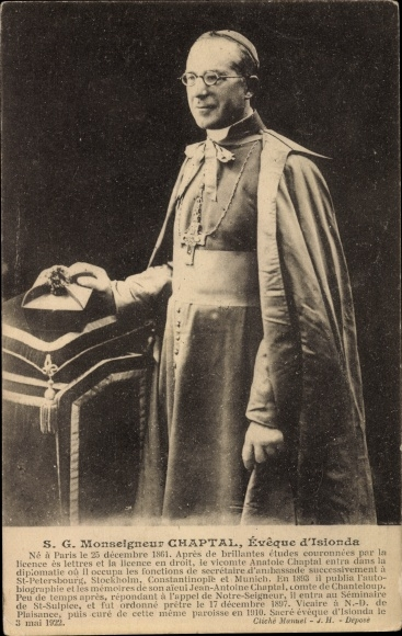 Ak S. G. Monseigneur Chaptal, Éveque d'Isionda, né à Paris le 25 décembre 1861