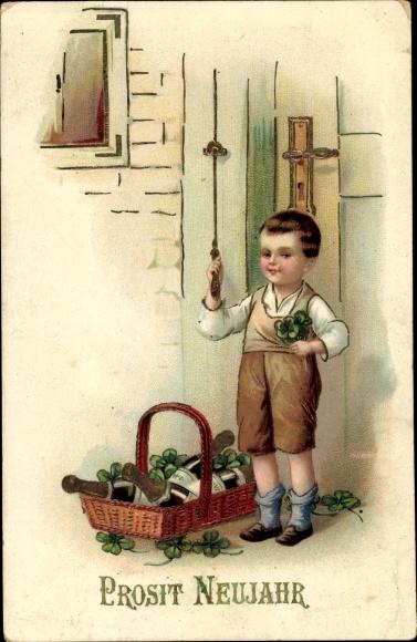 Präge Litho Glückwunsch Neujahr, Junge läutet die Türglocke, Kleeblätter, Sektflaschen, EAS