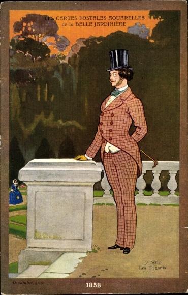 Künstler Ak Matet, J., Belle Jardinière, Les Elégants, Mann im karierten Anzug mit Zylinder