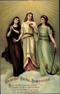 Präge Litho Allegoire, Glaube, Liebe, Hoffnung, Liebe sei Dein ganzes Leben