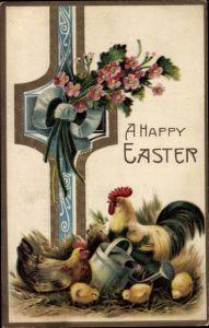Präge Litho Glückwunsch Ostern, Hahn, Huhn und Küken mit Gießkanne im Stroh