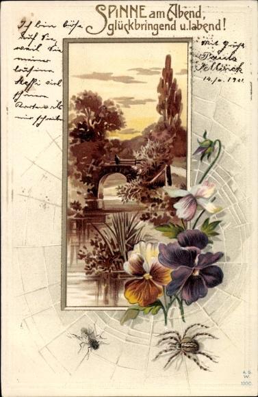 Präge Litho Spinne am Abend, glückbringend und labend, Spinne, Fliege, Blumen