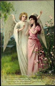 Präge Litho Allegorie Glaube, betende Frau mit Schutzengel, Wenn kindlich frommer Glaube