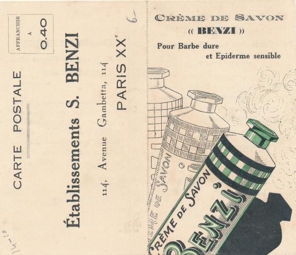 Klapp Ak Reklame, Crème de Savon, Établissements S. Benzi, 114 Avenue Gambetta, Paris 0