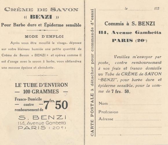 Klapp Ak Reklame, Crème de Savon, Établissements S. Benzi, 114 Avenue Gambetta, Paris 1
