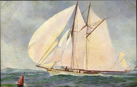 Künstler Ak Rave, Chr., Marine Galerie 211, Segelschiff, SM Yacht Meteor, 1907