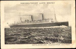 Ak Dampfschiff Columbus, Norddeutscher Lloyd Bremen, Doppelschrauben Salondampfer