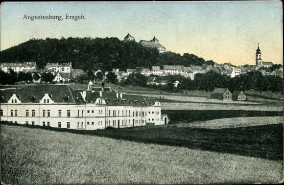 Ak Augustusburg im Erzgebirge, Teilansicht vom Ort