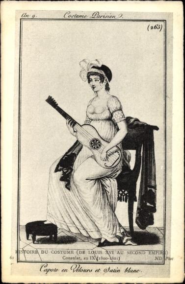 Künstler Ak Histoire du Costume de Louis XVI au Second Empire, Costume Parisien, Capote en Velours
