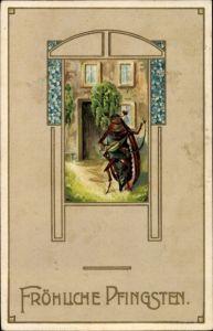 Präge Litho Glückwunsch Pfingsten, Musizierender Maikäfer vor einem Haus, Vergissmeinnichtblüten