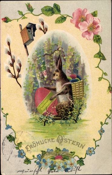 Präge Litho Glückwunsch Ostern, Osterhase mit Ostereiern, Zwerg, Weidenkätzchenzweige