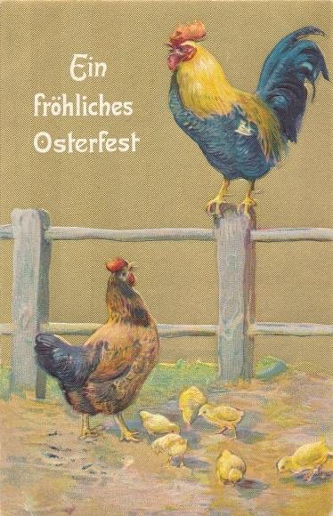 Präge Litho Glückwunsch Ostern, Hahn auf einem Zaun, Huhn und Küken