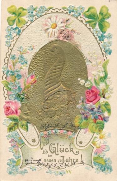 Präge Litho Glückwunsch Neujahr, Münzen in einem Füllhorn, Kleeblätter, Blüten