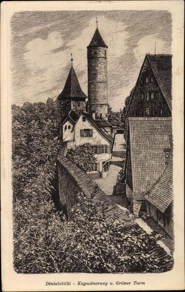 Künstler Ak Dinkelsbühl in Mittelfranken, Kapuzinerweg, Grüner Turm
