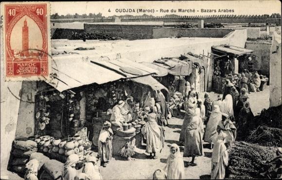 Ak Oudjda Oujda Marokko, Rue du Marché, Bazars Arabes