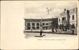 Ak Hanoi Tonkin Vietnam, Travaux publics, Façade, Straßenpartie
