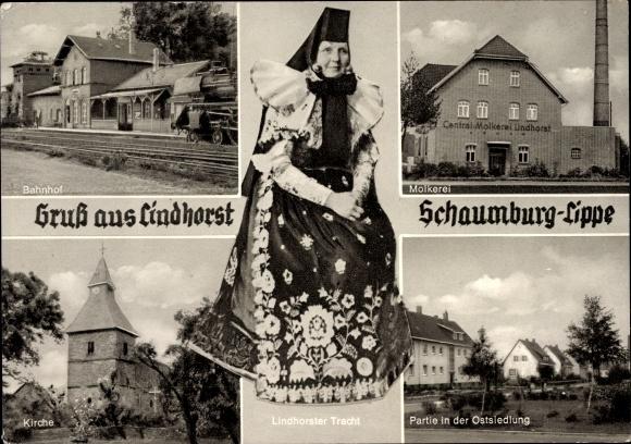 Ak Lindhorst in Niedersachsen, Frau in Lindhorster Tracht, Bahnhof, Molkerei, Kirche, Ostsiedlung