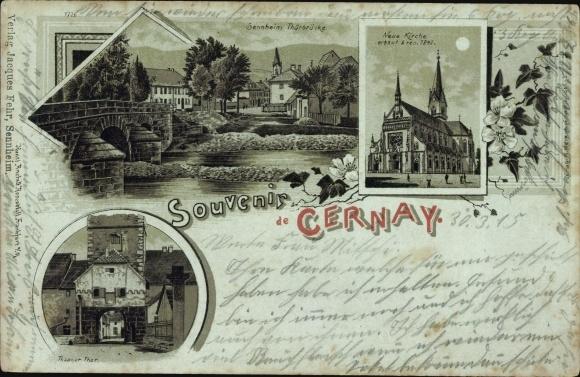 Mondschein Litho Cernay Sennheim Elsass Haut Rhin, Thürbrücke, Kirche, Thanner Tor