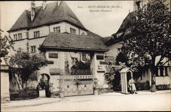 Ak Neuf Neuf Brisach Neubreisach Elsass Haut Rhin, Quartier Abatucci, Kaserneneingang