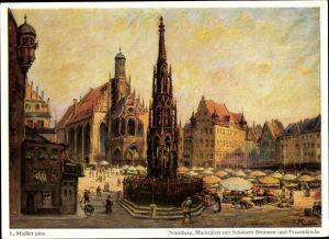 Künstler Ak Mößler, L., Nürnberg Mittelfranken Bayern, Marktplatz, Schöner Brunnen und Frauenkirche