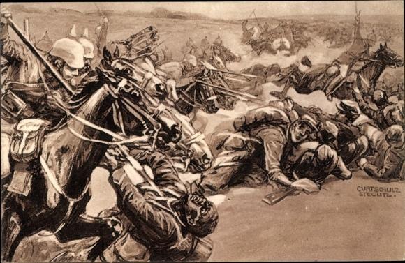 Künstler Ak Schulz-Steglitz, Curt, Kavallerie Attacke bei Soissons, I. WK
