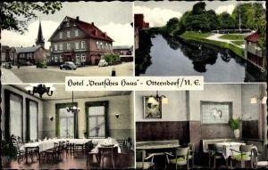Ak Otterndorf Niedersachsen, Hotel Deutsches Haus, Bes. Robert Petersen, VW Käfer, Speisesaal