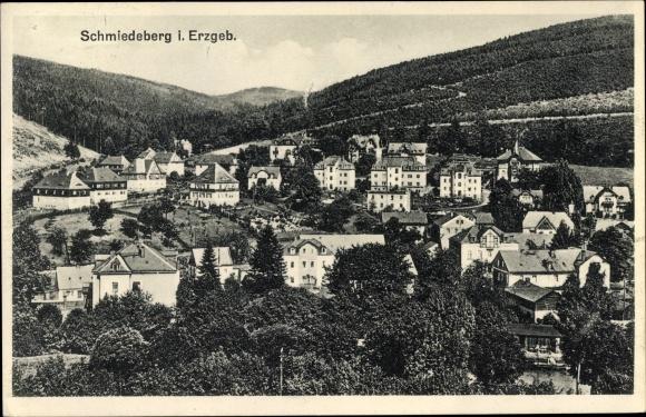 Ak Schmiedeberg Dippoldiswalde im Osterzgebirge, Panorama vom Ort