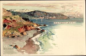 Künstler Litho Wielandt, Manuel, Ospedaletti Liguria, Küstenpanorama, Blick zur Stadt, Tunnel