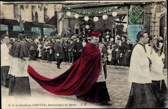 Ak Paris, Le Cardinal Amette, Archeveque, Kardinal, Erzbischof der Stadt, Prozession